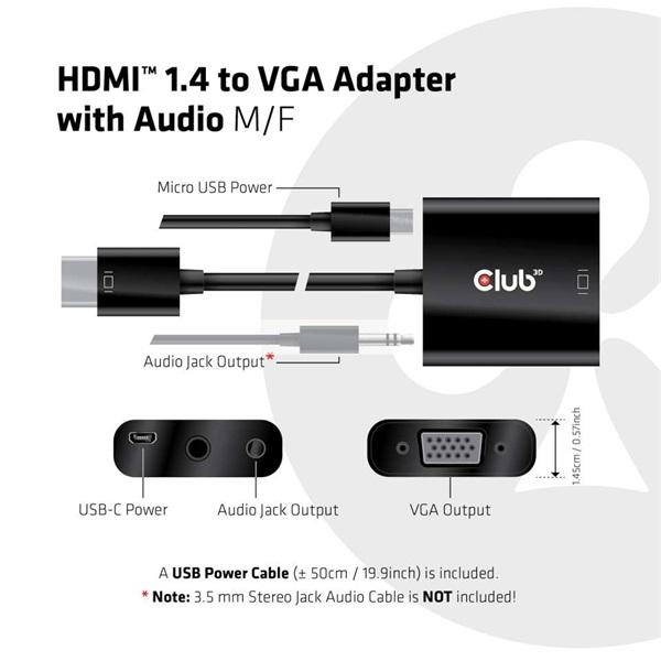 CLUB3D HDMI 1.4 - D-Sub Adapter - 5